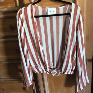 Striped, open front blouse